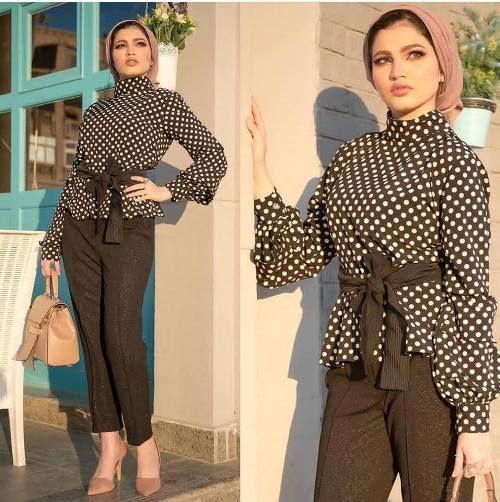 صورة تنسيق ملابس محجبات , اقوي كولكشن ملابس للمحجبات 3591 5